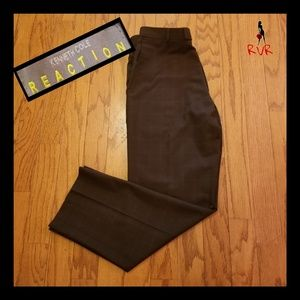 KENNETH COLE BLACK PLAID FLAT FRONT DRESS PANTS